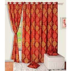 Swayam Premium Blackout Sigma Curtain Red And Orange
