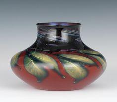 Charles Lotton Red Drop Leaf Sunset Vase