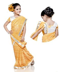 US$ 84.24: Yellow Faux Georgette #Kids #Saree with Blouse | Get It Here: http://www.sareegalaxy.com/pages/itemlarge.aspx?itemcode=CKIB05