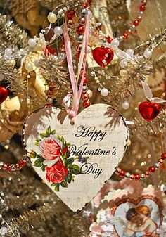 Valentine's Day Tree....love it and sooo would do this...use your Valentine's cards for these ornaments. What a great way to preserve memories!