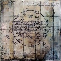 lines look like boards, heat wax and emboss with metal ruler in the heated wax, then add brown into the embossed lines.  Jann Gougeon encaustic and mixed medium