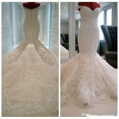 Long Mermaid Wedding Dresses,Off Shoulder Lace Wedding Gowns,Modest Gorgeous Ivory Bridal Gowns