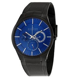 Skagen 809XLTBN Men's Denmark Black Titanium Mesh Bracelet Blue Dial Watch