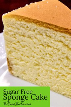 Use this recipe if you want to know How to make YUMMY and Easy Sugar Free Sponge Cake that can be served alone or with fruit. Sugar Free Deserts, Sugar Free Sweets, Sugar Free Recipes, Sugar Free Sponge Cake Recipe, Sponge Cake Recipes, Gluten Free Sponge Cake, Sponge Recipe, Diabetic Cake, Diabetic Foods