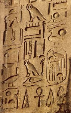 Hieroglyphic writing first began more than 5,000 years ago. Egyptians wrote in hieroglyphs into the Fifth Century CE. Hieroglyphs are like word pictures.