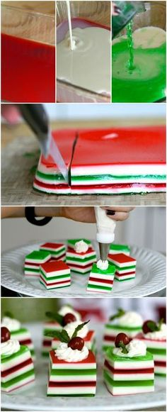 Holly Jolly Jelly Shots - my mother makes these every year (non-alcoholic) and they're not only delicious, but so cute! But they can be Holly Jolly Jelly Shots with alcohol is you would like! Just think of the colors! Holiday Treats, Christmas Treats, Holiday Recipes, Christmas Recipes, Fancy Recipes, Cute Christmas Desserts, Dinner Recipes, Xmas Food, Christmas Cooking