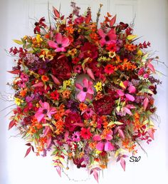 Late Summer Wreath Fall Wreath-Silk Wildflower by SeasonalWreaths