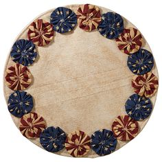 Country Primitive Patriotic Americana Table Mat 13 Round Has Yo Yo's sewn around the mat in Patriotic Print Fabrics. Perfect for any Primitive Americana Themed Room Primitive Crafts, Country Primitive, Primitive Kitchen, Yo Yo Quilt, Patriotic Crafts, Penny Rugs, Mug Rugs, French Country Decorating, Fabric Crafts