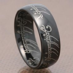 Black Tungsten Carbide Ring Lord LOTR Style Laser Etched Comfort Fit Band Men's Ring Full