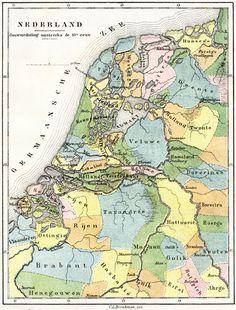 Kaart van Nederland van omstreeks het jaar 1000