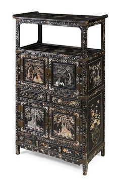 A Korean Mother-of-Pearl Inlaid Black Lacquered Wood Cabinet Height 47 Asian Furniture, Chinese Furniture, Oriental Furniture, Colorful Furniture, Antique Furniture, Cool Furniture, Mother Of Pearl Jewelry, Wood Cabinets, Cupboards