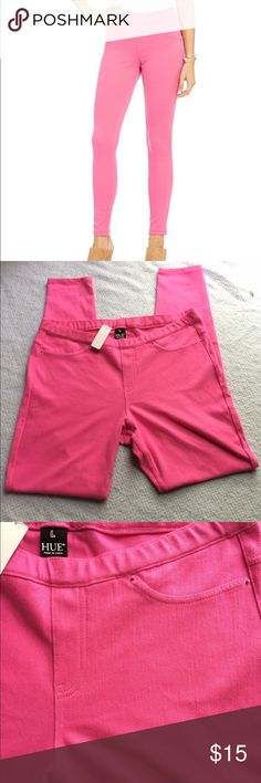 Hue hot pink jeggings! Size large from the brand HUE, still have some of the tags from when they were purchased. They were never even tried on. HUE Pants Skinny