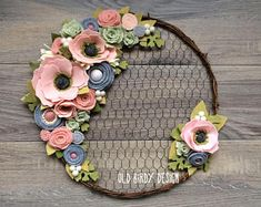Felt Flower Wreath; Wool felt wreath; chicken wire wreath; pink and gray wreath; wall decor; nursery decor; grapevine wreath; rustic wreath