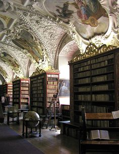I would lie on my back and stare at this ceiling for hours.  The Theological Hall, Strahov Monastery Library, Prague.