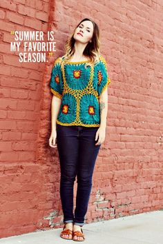 Chapman _ Sister Style on A Beautiful Mess. Great top! #crochet