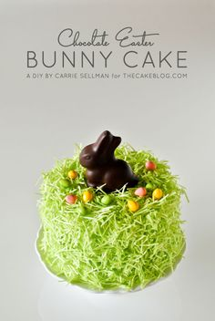 Chocolate Easter Bunny Cake - how to decorate this easy cake for Easter dessert, using edible grass, a chocolate Easter bunny and candy eggs. Easter Bunny Cake, Chocolate Easter Bunny, Easter Treats, Easter Eggs, Easter Food, Bon Dessert, Dessert Recipes, Cake Recipes, Easter Recipes