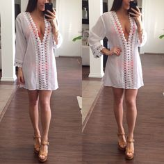 Beach Cover Up White with relaxed fit beach cover up. This dress has a deep neckline and goes well with any color of bikini. Brand new with tags La Blanca Dresses