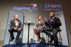 Daymond John Makes A Point At Capital One Mentorship Event (Forbes.com's Gene Marks, Far Left, Hosting)