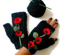 Poppy Knit Gloves Hand Knit Fingerless Winter Gloves unique | Etsy Fingerless Gloves Knitted, Crochet Gloves, Knit Mittens, Wrist Warmers, Hand Warmers, Loom Knitting, Hand Knitting, Christmas Gifts For Women, Etsy Crafts
