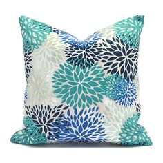 Blue Outdoor Pillows ANY SIZE Outdoor Cushions Outdoor Pillow Covers Decorative Pillows Outdoor Cushion Covers Premier Blooms Blue Vista