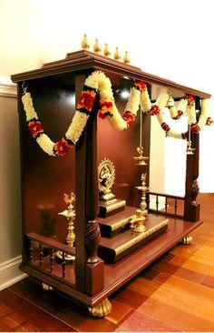 Custom Temple w/o Storage M# 1 - Divine Woodn Crafts Temple Room, Home Temple, Home Decor Furniture, Home Decor Bedroom, Temple Design For Home, Mandir Design, Pooja Mandir, Pooja Room Door Design, Bedroom Cupboard Designs