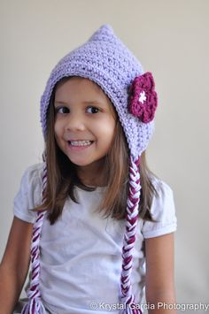 Custom Crochet Spring Bonnet  Ear Flap Hat Flower Hat by MyasEyes, $27.00