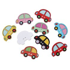 10Pcs Round Random Mixed Lovely Cars 2 Holes Wood Painting Sewing Buttons Scrapbooking 25x17mm