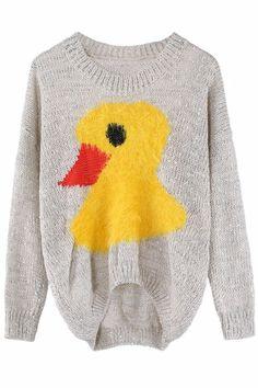 ROMWE | Yellow Duck Anomalous Lower Apricot Jumper, The Latest Street Fashion