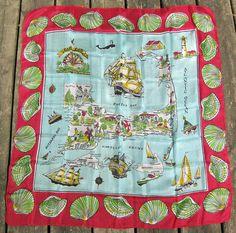 Cape Cod Vintage Silk Scarf Souvenir Tourist by MyVictorianCottage 24.00