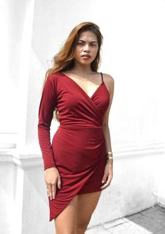 Hennessy Bodycon Wrap Dress – Heather Clothing Color Swatches, Dress Outfits, Dresses, Size Chart, Wrap Dress, Fabric, Clothing, Model, How To Wear