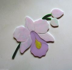 ORCHID FLOWER Precut Stained Glass Kit Mosaic Inlay. Extra flowers can be ordered.