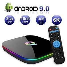 Android TV Box  Q Plus TV Box Android 9.0 with 2Go RAM 16Go ROM H6 Quad Core cortex-A53 Processor Smart TV Box Supports 6K Resolution 3D 2.4GHz WiFi 10/100M Ethernet USB 3.0 Media Player