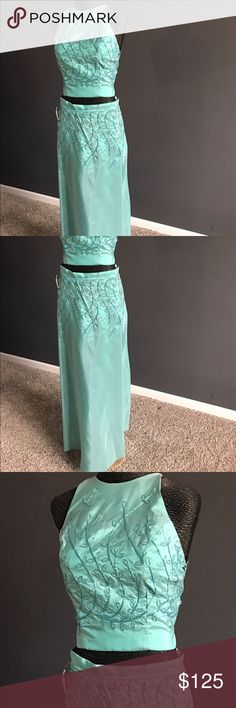 Teal 2 piece prom dress. Tag size 3/4 but fits like a 2. Never been worn out - store close out so has been tried on Dresses Prom