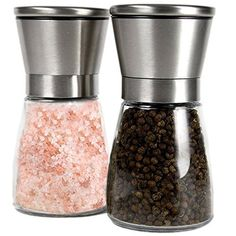 Qs Inn Salt and Pepper Grinder Set  Lifetime Warranty Brushed Stainless Steel Salt  Pepper Mill with Glass Bottle  Adjustable Ceramic Mechanism  Best Shakers Pair for Healthy Cooking ** Check this awesome product by going to the link at the image.Note:It is affiliate link to Amazon.