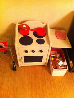 This cute: Upcycled Kids Oven is made from an 80's nightstand!