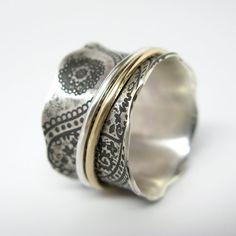 Paisley Vintage geïnspireerde Sterling zilver en 10 k gouden Spinner Ring