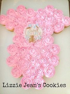 Onesie Cupcake Cake for Baby Shower www.lizziejeanscookies.com by vicki