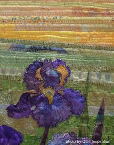 View of Arles with Irises by Carole Pirruccello, Cathy Brorby, Phyllis McCalla, Jan Bawart and Jan Soules. 2014 RCQG, photo by Quilt Inspiration
