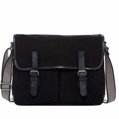 The Jack Georges Canvas Messenger Bag in Black offers style and function in a lightweight body. It is hand made from cotton canvas and trimmed with leather. Canvas Messenger Bag, Online Bags, Briefcase, Cotton Canvas, Shoulder Strap, Satchel, Laptop Bags, Leather, Nordstrom Rack