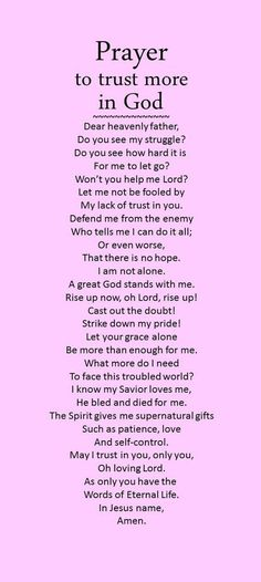 Prayer to trust more in God.