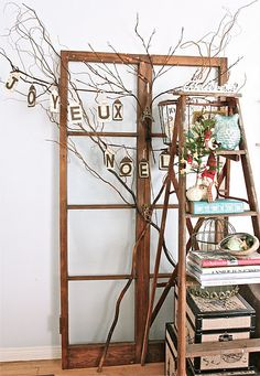 Love all the pieces - window frame, old ladder, tree branch...