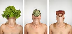 Véronique L'hoste   Tryptique série Food Faces Autoportrait avec crevettes / Autoportrait avec artichaud / Autoportrait avec tourteau. tirage numérique, (chacun 40x60 cm/Tirages Fine Art).