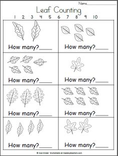 Many Fall Leaves? Kindergarten Math How Many Fall Leaves? Kindergarten MathHow Many Fall Leaves? Fall Preschool, Preschool Math, Kindergarten Worksheets, Kindergarten Activities, Maths, Halloween Math Worksheets, Kindergarten Classroom, Learning Activities, Alphabet Worksheets