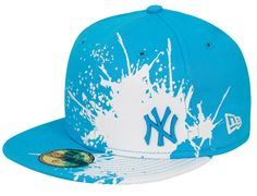New York Yankees Splatways Blue 59Fifty Fitted Baseball Cap by NEW ERA x MLB