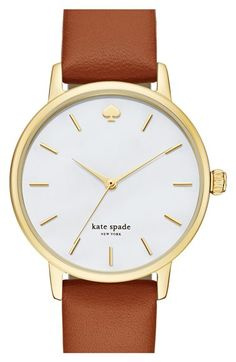 Free shipping and returns on kate spade new york 'metro' round leather strap watch, 34mm at Nordstrom.com. Slim stick indexes round an opalescent mother-of-pearl dial to display three-hand time on a classic watch. A finely textured leather strap makes an elegant finish.