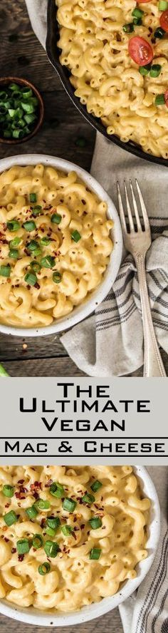The Ultimate Vegan Mac n Cheese ~ super creamy, rich & oh-so dreamy! It takes less than 30 minutes to make & it's gluten-free. The Ultimate Vegan Mac n Cheese (GF) - veganhuggs. vegan-mac-n-cheese/ Vegan Dinner Recipes, Veggie Recipes, Whole Food Recipes, Cooking Recipes, Healthy Recipes, Pasta Recipes, Free Recipes, Cooking Tips, Supper Recipes