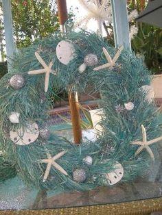 Beach Seashell Turquoise Christmas Wreath by cynsbeachhouse Coastal Christmas Decor, Nautical Christmas, Tropical Christmas, Beach Christmas, Noel Christmas, Christmas Wreaths, Christmas Crafts, Christmas Decorations, Christmas Ornaments