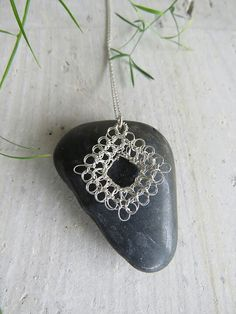 Hand Crocheted Sterling Silver Wire Square Triangle Pendant Hanging Necklaces, Silver Necklaces, Flower Necklace, Plan Your Wedding, Hand Crochet, Sterling Silver Chains, Triangle, Wire, Pure Products