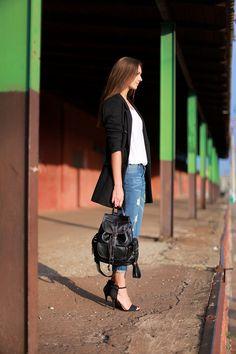 Black coat, boyfriend jeans, Zara sandals, backpack, Fashion Agony blog