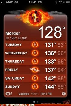Mordor forcast says..... boiling with a chance of explosion. LOTR